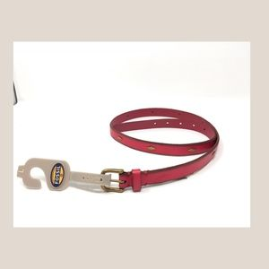 Fossil Red Leather Belt with Bling New